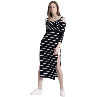 947576492b4c1 Texco Women Black   White Cotton jersey Sweetheart neck Cold shoulder sleeve  Striped Top