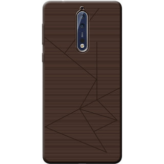 Professional Strip Back Cover For Nokia 8 - Brown