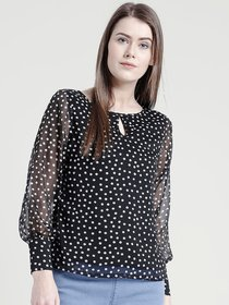 Yaadleen Chiffon Regular Black Tops  For Women's /  Girl's
