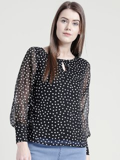 Yaadleen Chiffon Regular Black Tops  For Women's /  Girl's