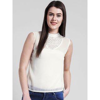Yaadleen Georgette Regular Off White Tops For Women's /  Girl's