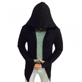 PAUSE Black Solid Cotton Hood Slim Fit Front Open Men's Cardigan T-Shirt