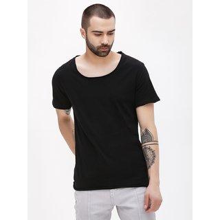 bff9f194d Buy PAUSE Black Solid Cotton Scoop Neck Slim Fit Half Sleeve Men's T ...