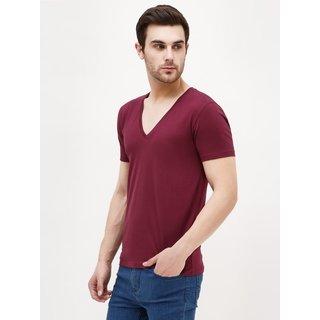 PAUSE Maroon Solid Cotton V Neck Slim Fit Half Sleeve Men's T-Shirt