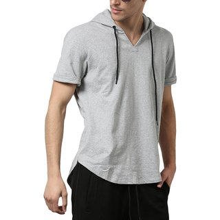 PAUSE Silver Solid Cotton Hood Slim Fit Half Sleeve Men's T-Shirt