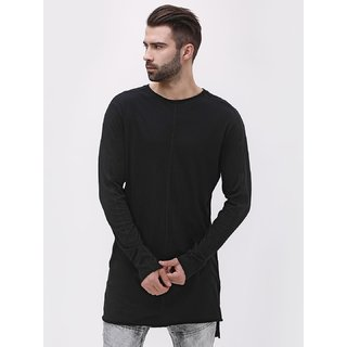 d2dbf05f028 Buy PAUSE Black Solid Cotton Round Neck Slim Fit Full Sleeve Men s T ...