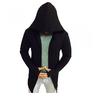 PAUSE Black Solid Cotton Hood Slim Fit Front Open Men's Cardigan T-Shirt