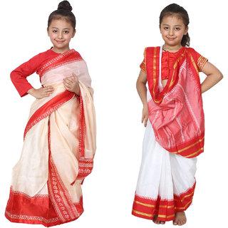 Bengali Saree Bihu saree Rangoli Kids Costume Dress