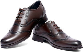 OSTR Men's Formal Genuine Leather Coffee Brown Brogue S