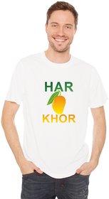 Crazy Sutra Half Sleeve Casual Printed Unisex Boy's/Girl's/Men's/Women's White Premium Dry-Fit Polyester Tshirt  [T-HarAamKhor_S_M]