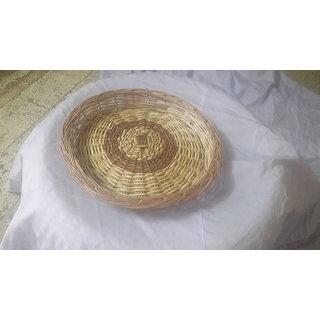 Cane Round Basket (14 Iinch) - All India Handicraft