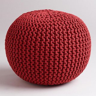 The Intellect Bazaar Premium Knitted Pouf (15*15*14 inches) Red
