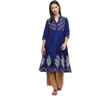 Spoorthi Women's Royal Blue Poly Cotton Printed Anarkali Kurta