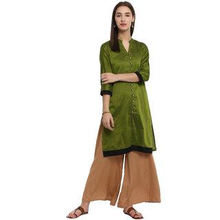 Spoorthi Women's Green Poly Cotton Solid Straight Kurta
