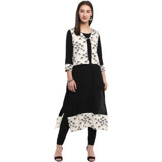 Spoorthi Women's Black White Rayon Printed Layered Kurta