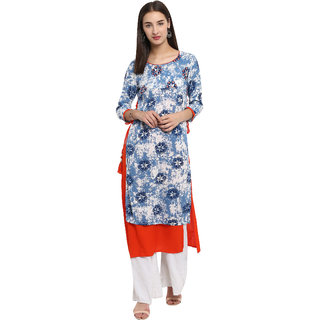 Spoorthi Women's Blue Rayon Embroidered Layered Kurta