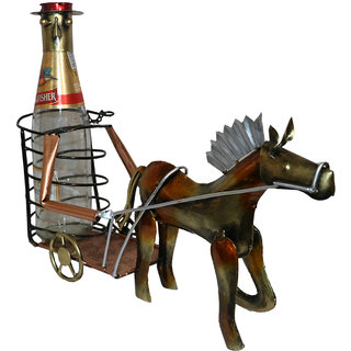 Master Crafts Multicolor Iron Hand Painted Table Dcor Horse Wine Bottle Holder