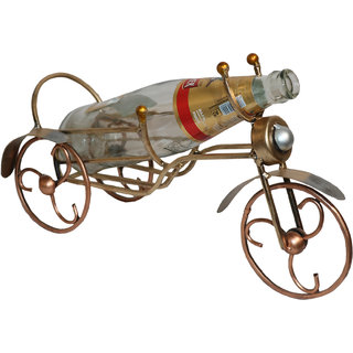 Master Crafts Multicolor Iron Hand Painted Table Dcor Cycle Wine Bottle Holder