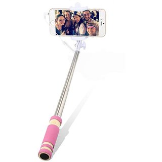 GA2Z Classy Mini Colorful Selfi Stick with Rubber Grip Premium Quality For All Android  Iphone Pink