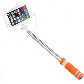 GA2Z Classy Mini Colorful Selfi Stick with Rubber Grip Premium Quality For All Android  Iphone Orange