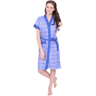 Red Rose Womens Terry Cotton Printed Blue Bathrobe