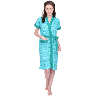 Red Rose Womens Terry Cotton Printed Green Bathrobe