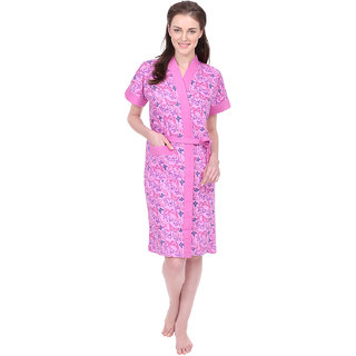 Red Rose Womens Terry Cotton Printed Pink Bathrobe