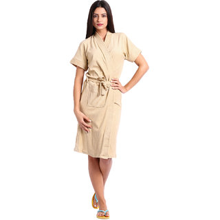 Red Rose Womens Terry Cotton Solid Beige Bathrobe