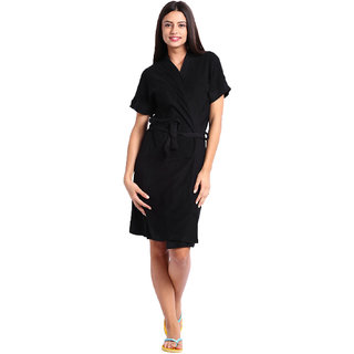 Red Rose Womens Terry Cotton Solid Black Bathrobe