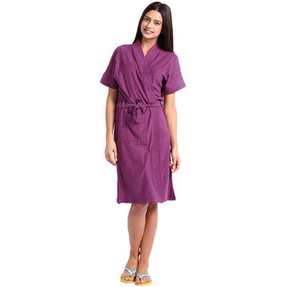 Red Rose Womens Terry Cotton Solid Purple Bathrobe