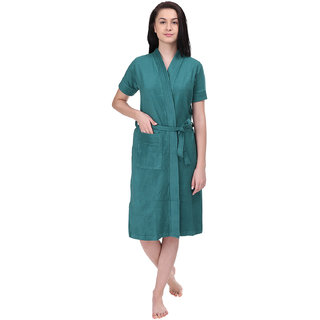 Red Rose Womens Terry Cotton Solid Green Bathrobe