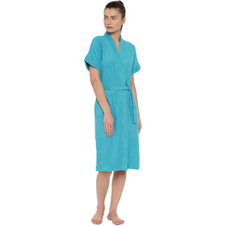Red Rose Womens Terry Cotton Solid Turquoise Bathrobe