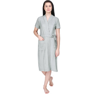 Red Rose Womens Terry Cotton Solid Grey Bathrobe