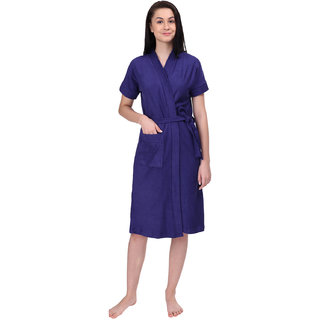 Red Rose Womens Terry Cotton Solid Violet Bathrobe