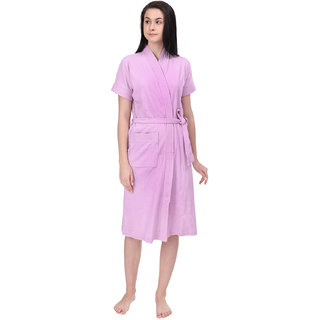Red Rose Womens Terry Cotton Solid Light Purple Bathrobe