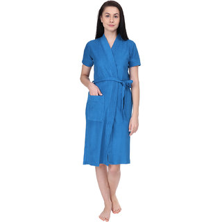 Red Rose Womens Terry Cotton Solid Blue Bathrobe