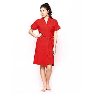 Red Rose Womens Terry Cotton Solid Red Bathrobe