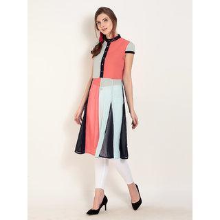 Abiti Bella Women's Georgette Colorblock Tunic