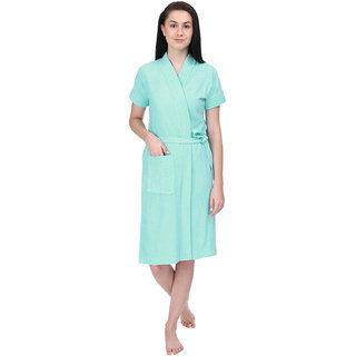 Red Rose Womens Terry Cotton Solid Sky Blue Bathrobe