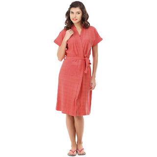 Red Rose Womens Terry Cotton Solid Peach Bathrobe