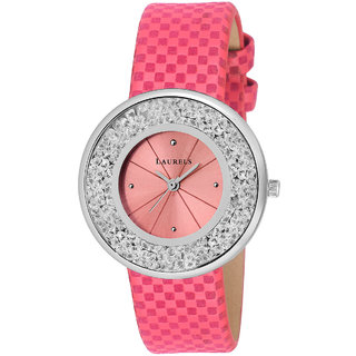Laurels Scarlet Pink Color Women's Watch- LWW-SCRT-121207