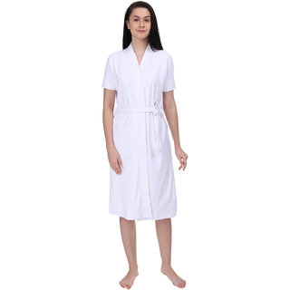 Red Rose Womens Terry Cotton Solid White Bathrobe