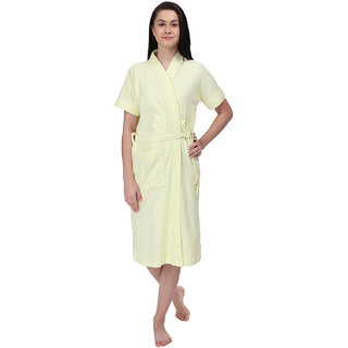 Red Rose Womens Terry Cotton Solid Yellow Bathrobe