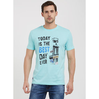 ROAD ROCKERS Turquise Blue Round Neck T-Shirt