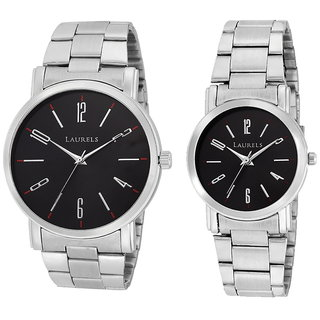 Laurels Black Color Analog Couple's Watch With Metal Chain: LWP-SVT-020707