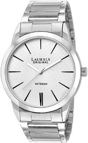 Laurels White Color Analog Men's Watch With Metal Chain