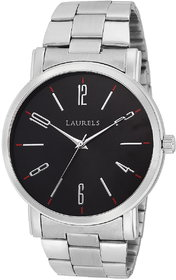 Laurels Black Color Analog Men's Watch With Metal Chain