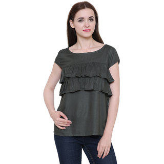 Bluestone Women's Green Cotton Top-(BLWT-641-2XL)