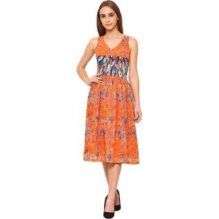 Bluestone Women's  Orange Georgette DRESS-(BLWD-800_2XL)