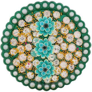 Maayra Green Brooch Dailywear Saree pin Hand Woven Pearls Flowers Stone Studded